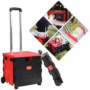 Two wheeled Rolling Crate Cart Folding Hand Utility Collapsible Handcart Plastic