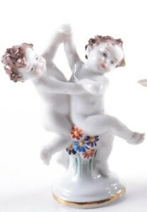 Early 20th Century E A Muller Volkstedt Porcelain Cherub Figurine