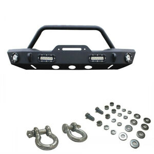Front Bumper For 07 18 Jeep Wrangler Jk Rock Crawler Winch Plate With Led Light