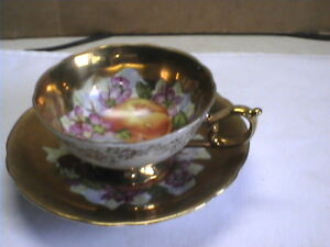 Scallop Bottomtea Cup Saucer O T K China Opal Iridescent Hand Painted Japan