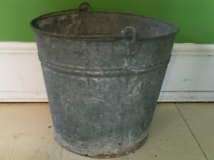 Galvanized Bucket Pail Metal Vintage Shabby Primitive Rusty Planter Pot Farm 11