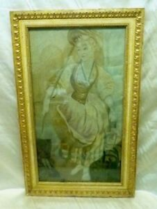 Estate Found French 18th Century Woman Needle Point Tapestry Framed