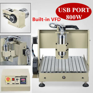 4 Axis 3040 Cnc Mill Router Usb Desktop Metal Engraver Milling Machine 800w Vfd