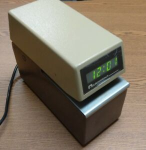 Acroprint Etc Digital Display Time Card Stamp Punch Recorder No Key