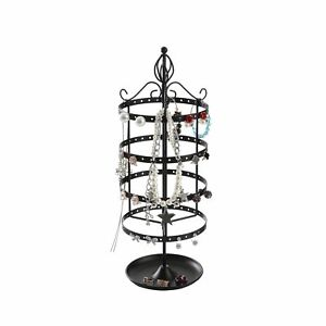 Giftway 4 Tier Rotating Jewelry Tree Organizer Stand Tower With Ring Tray For