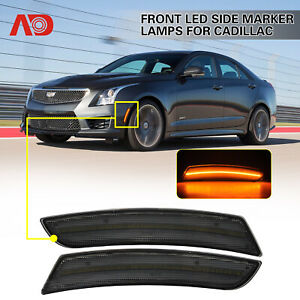 For 2015 2019 Cadillac Ats Cts Smoked Led Side Marker Lights Front Amber 2pcs