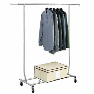 Commercial Extendable Adjustable Height Rolling Garment Rack Clothing Organizer