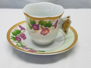 Vintage Porcelain Tea Cup Saucer Demitasse Coffee Butterfly Fine China Gold