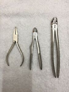 Set Of 3 Misc Dental Orthodontic Pliers Stainless Germany Plus England