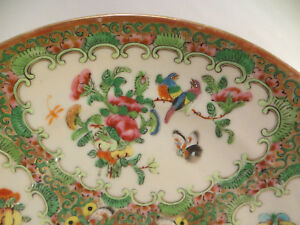 Antique Chinese Famille Rose Medallion Porcelain Plate Pre 1890 China 8 3 8 B