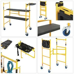 Rolling Scaffold Ladder Indoor Portable Folding Paint Drywall 500 Work Bench