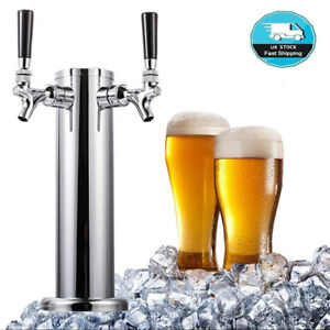 Stainless Steel Double Tap 2 Faucet Draft Beer Tower For Bar Home Brew Kegerator