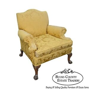 Georgian Style Custom Carved Mahogany Paw Foot Lounge Chair Bergere