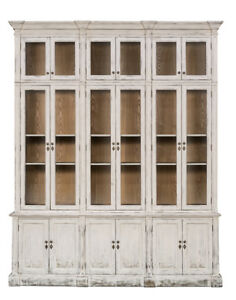 Antique Style Distressed White Cabinet Apothecary Glass Front Doors 85 X107 H
