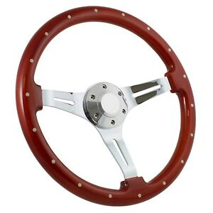 64 69 Ford Thunderbird 14 Wood Billet Polished Steering Wheel Set Adapter