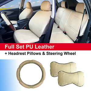 Full 5 Seats Pu Leather Cushion 2 Pillows 15 Sw Compatible To Buick 5325