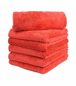 6pcs Microfiber Towel Edgeless Scratch Free Cleaning Clothes 16 x16 Red
