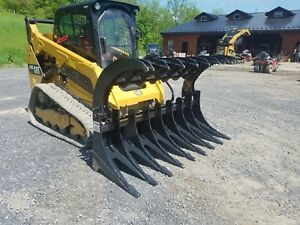 New 86 Brush Grapple Bucket Hydraulic Attachment Compact Track Loader Skid Steer