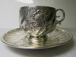 Antique Edouard Ernie 19th C French Monogrammed Sterling Silver Tea Cup
