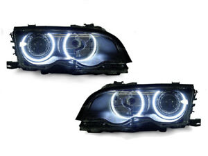 Depo Led Angel Eye Projector Headlight Set For 99 01 Bmw E46 4d Sedan 5d Wagon