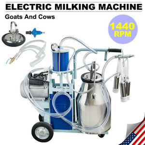 Electric Milking Machine For Goats Cows W 25l Bucket Automatic 550w 1440rpm Fda