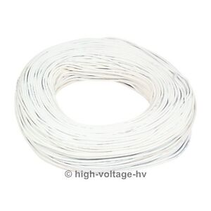40ft 50kv Dc 18awg White High Voltage Wire Hv Cable Stranded