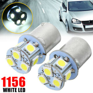 2pcs Ba15s R5w 1156 5050 8smd Led Car Tail Turn Signal Light Bulb White 12v