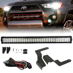 Fit 14 Up Toyota 4runner 32 Led Light Bar Hidden Grille Bumper Mount Wiring Kit