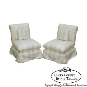 Custom Quality Upholstered Pair Of Slipper Chairs