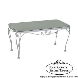 Woodard Ivy Vintage Wrought Iron White Painted Glass Top Patio Coffee Table