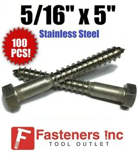 qty 100 5 16 X 5 Lag Screws Hex Head Stainless Steel 18 8 304