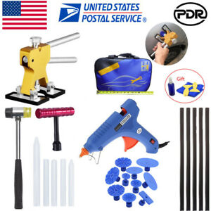 Paintless Dent Repair Removal Pdr Tools Auto Body Kit Puller Lifter Glue Gun Set