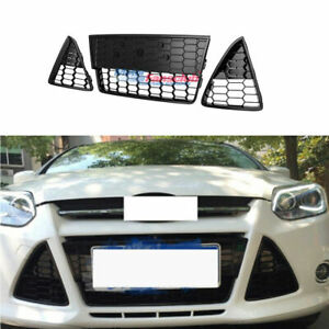 3pcs Honeycombed Front Bumper Lower Grille Grills For Ford Focus 2012 2013 2014