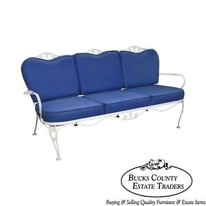 Woodard Ivy White Blue Wrought Iron Patio Sofa