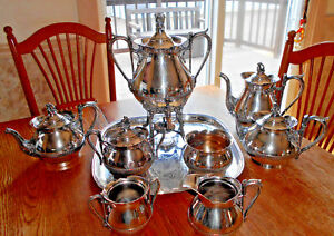 Reed Barton Coffee Urn Pot Teapot Sugar Creamer Acorn Motif 9 Pc Beckle