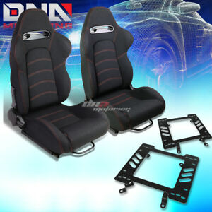 2x Black Woven Fabric Red Dual Stitch Racing Seat bracket Fit 79 98 Ford Mustang
