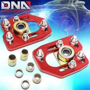 For 1990 1993 Ford Mustang Front Aluminum Adjustable Camber caster Plates Red