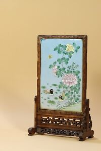 Chinese Enameled Mandarin Duck Plaque In Wood Stand Table Screen
