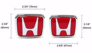 H Honda Logo Jdm Red Type r Acura Civic Accord Integra Rsx Emblems Badge Logo