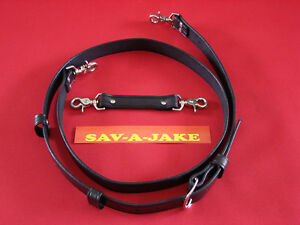 Sav a jake Firefighter 2 Pc Leather Radio Strap Set Black Regular Size