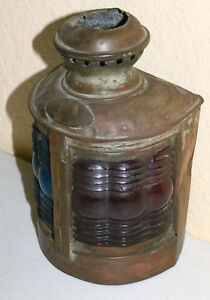 Vintage Antique Dock Bridge Rail Signal Blue Red Ornate Brass Light Lamp Lantern