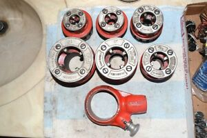 Ridgid 111 r Pipe Threader Ratchet Head 6 Dies 2 Handles Clip Usa Tools