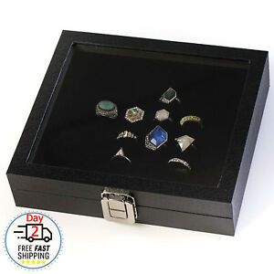 Ring Box Organizer Jewelry Holder Glass Top Display Case Tray 36 Slots Storage