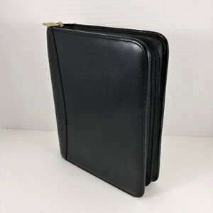 Franklin Covey Full Grain Nappa Leather Classic Planner Zip 7 Ring Black 12215