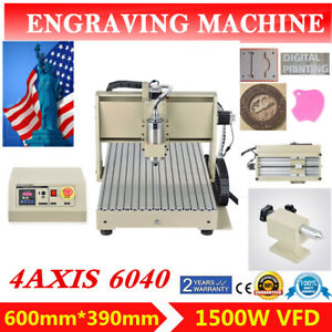 Four 4axis 6040 1500w Cnc Router Engraver Engraving Milling Machine Mach3 Cutter