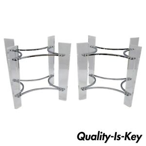 Pair Lucite Chrome Sculptural Mid Century Modern End Table Bases Kagan Style