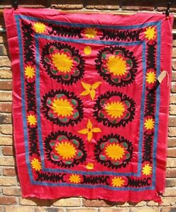 Vintage 100 Suzani Embroidery Wall Hanging Tapestry Uzbek Handmade Large A