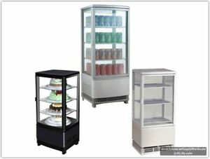 Marchia Mdc78 Counter Top Square Refrigerated Glass Display Case Black 110v