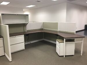 Haworth Office Cubicles used In Great Condition Green Gray