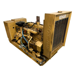Used Natural Gas Generator 45 Kw Kohler Model 45r72 3 Phase 277 480 Volt